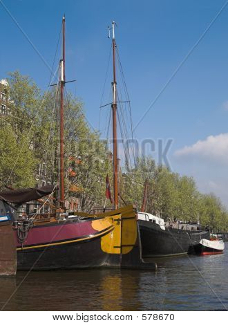 poster of Yachts In City Canal, Amsterdam, Netherlands