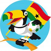 picture of toucan  - Brazilian Toucan with soccer ball and national flag cheering - JPG