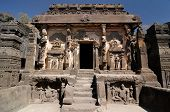 pic of ellora  - Buddhist temples bored in rocks in the Ellora town in India Maharashtra India  - JPG