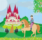 Prince Riding A Horse To The Castle