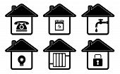 house icons with home appliance