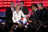 Britney Spears with Adam Carolla and Antonio Villaraigosa   at the Debut of L.A. Live's 'Light of An