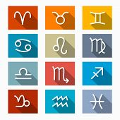 picture of cancer horoscope icon  - Vector Zodiac Horoscope Rectangle Icons in Retro Colors - JPG
