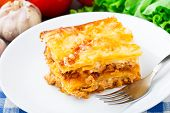 Italian lasagna on a plate