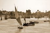 Felucca sails on the Nile river