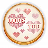 Love You Cross Stitch Embroidery. Hearts, Wood Hoop