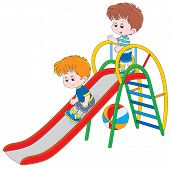pic of chute  - Little boys sliding down on a playground - JPG