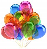 Balloons party birthday balloon decoration colorful translucent. Happy joy fun positive good emotion poster