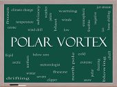 stock photo of frostbite  - Polar Vortex Word Cloud Concept on a Blackboard with great terms such as cold wind chill ice and more - JPG