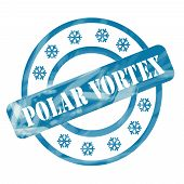 Blue Weathered Polar Vortex Stamp Circles And Snowflakes