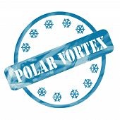 Blue Weathered Polar Vortex Stamp Circle And Snowflakes