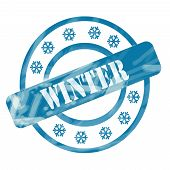 Blue Weathered Winter Stamp Circles And Snowflakes