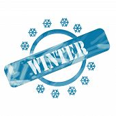 Blue Weathered Winter Stamp Circle And Snowflakes Design