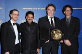 Ethan Coen and Raj Acharya with Danny Boyle and Joel Coen in the press room at the 61st Annual DGA A