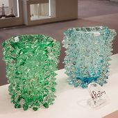 Murano Glass Vases On Display At Homi, Home International Show In Milan, Italy