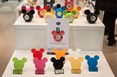 Mickey Mouse Amplifiers For Cell Phones On Display At Homi, Home International Show In Milan, Italy