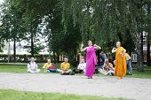 Perm, Russia - Jun 10, 2012: Krishna Worshipers Dance In Square Of Ural Volunteers.
