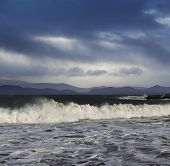 Big Atlantic waves during a stormy weather in County Kerry, Ireland