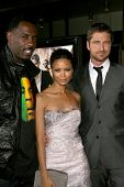 Idris Elba with Thandie Newton and Gerard Butler  at the Los Angeles Premiere of 'Rocknrolla'. Pacific Cinerama Dome, Hollywood, CA. 10-06-08