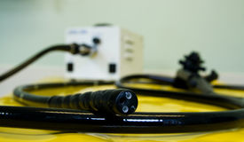 stock photo of proctoscopy  - The business end of a flexible medical endoscope used for exploration of the upper gastroenteric tract  - JPG