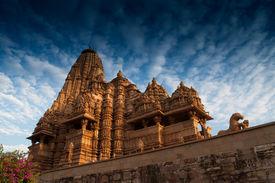 stock photo of kandariya mahadeva temple  - Kandariya Mahadeva Temple dedicated to Lord Shiva Western Temples of Khajuraho Madya Pradesh India - JPG