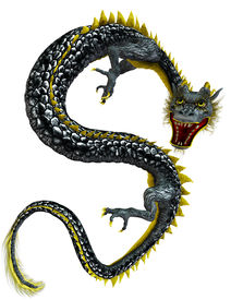 stock photo of hangul  - Chinese Dragon Illustration on clean white background - JPG