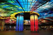 Colorful Glass Work Ceiling And Columns