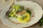 Herring fillet with sauce of fresh herbs