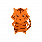 Flat Vector Cartoon Illustration Of Cute Tiger Posing