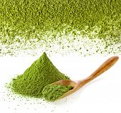 stock photo of chlorella  - powdered green tea with bamboo spoon  - JPG