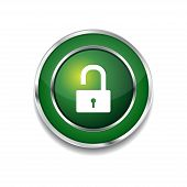 Unlock Circular Green Vector Web Button Icon