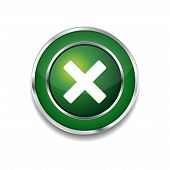 Cross Circular Green Vector Web Button Icon