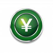 Yen Currency Sign Circular Vector Green Web Icon Button