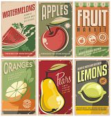image of fruits  - Collection of retro fruit poster designs - JPG
