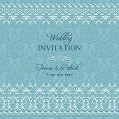 Baroque wedding invitation, blue