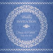 Baroque wedding invitation, navy blue