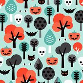 Seamless kids halloween illustration colorful background pattern in vector