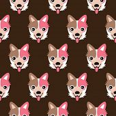 Seamless puppy dog jack russel illustration background pattern in vector