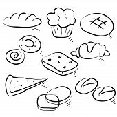 Food collection of hot cakes. Hand drawing sketch