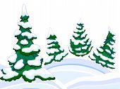 The Cartoon Coniferous Snowy Forest And Winter Snowdrifts.