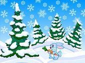 The Cartoon Coniferous Snowy Forest With A Rabbit.