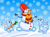 The Cartoon Illustration Of A Snowman And Two Rabbits.