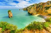 pic of lagos  - Idyllic beach landscape at Lagos Algarve  - JPG