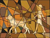 Colorful mosaic illustration of a woman walking her dog