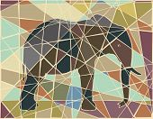 Colorful mosaic illustration of an African elephant