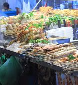 picture of sm  - Seafood BBQ sold on Jalan Alor Bukit Bintang. Jalan Alor in Bukit Bintang is famous for many food stalls and outdoor dinning.