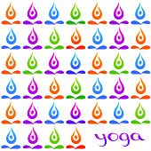 Yoga background - colored symbols lotus pose on a white background. Vector.