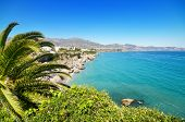 Nerja coastline landscape famous touristic town in costa del sol Málaga Andalusia Spain.
