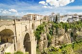 Ronda bridge and canyon Ronda Malaga Andalusia Spain.