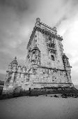 Scenic view of the Tower of Belem in black and white, Lisbon, Portugal.